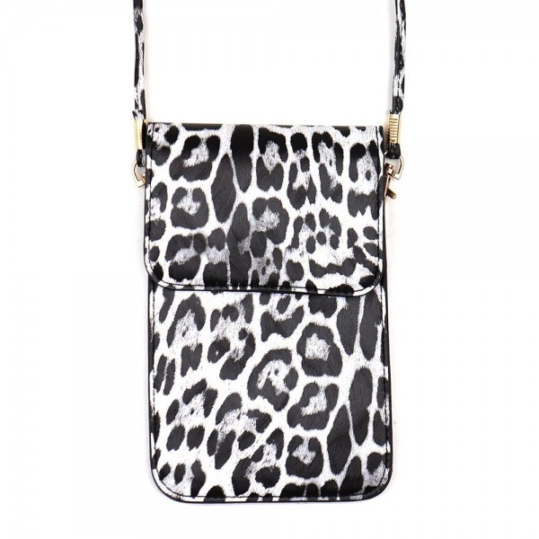 "Faux leather leopard print cell phone cross body.  - One inside pocket - Clear back window - Flap button closure - Strap length approximately 24"" - 100% PU"