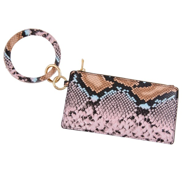 """Faux leather multicolor snakeskin keyring wallet wristlet.  - Open lined inside  - No pockets - Zipper closure - Ring approximately 4"""" in diameter - Wallet approximately 8"""" L x 4"""" T - 100% PU"""