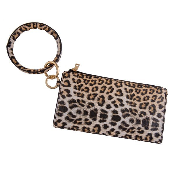 "Faux leather Beige leopard print keyring wallet wristlet.  - Open lined inside - No pockets  - Zipper closure - Detachable  - Ring approximately 4"" in diameter - Wallet approximately 8"" L x 4"" T - 100% PU"
