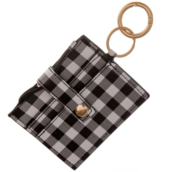 """Faux leather buffalo check slim minimalist card/coin keychain wallet.  - Zipper coin pouch - Two front card holders - Fold over button closure - Clear back pocket  - Approximately 4.5"""" W x 3.5"""" T - 100% PU"""