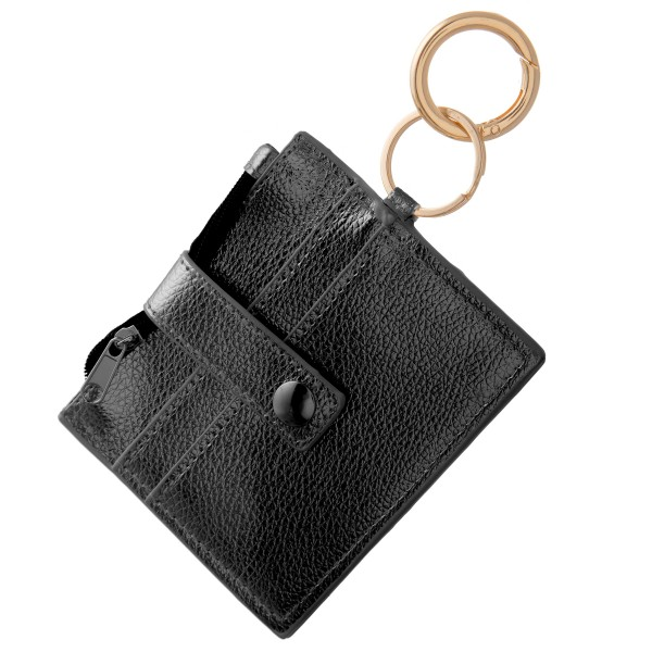"""Faux leather slim minimalist card/coin keychain wallet.  - Zipper coin pouch - Two front card holders - Fold over button closure - Clear back pocket  - Approximately 4.5"""" W x 3.5"""" T - 100% PU"""