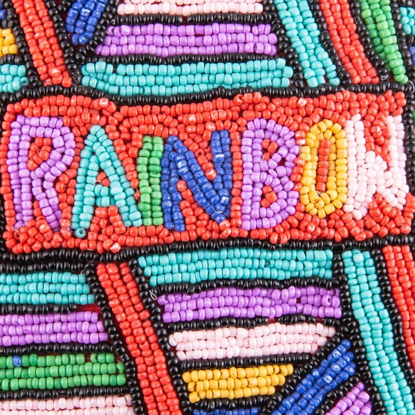 """High quality Rainbow seed beaded cell phone crossbody.  - Open (100% Cotton) lined inside - No pockets - Zipper closure - Approximately 7"""" x 4""""  - Strap hangs approximately 24"""" L - 40% Seed Beads, 40% Cotton Canvas, 20% Metal"""