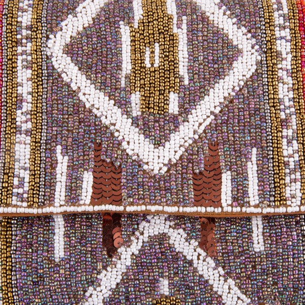 """High quality ethnic seed beaded sequin crossbody clutch.  - Open (100% Cotton) lined inside - 1 inside open pocket - Fold over flap snap closure - Approximately 10"""" x 7""""  - Strap hangs approximately 26"""" L - 40% Seed Beads, 40% Cotton Canvas, 20% Metal"""