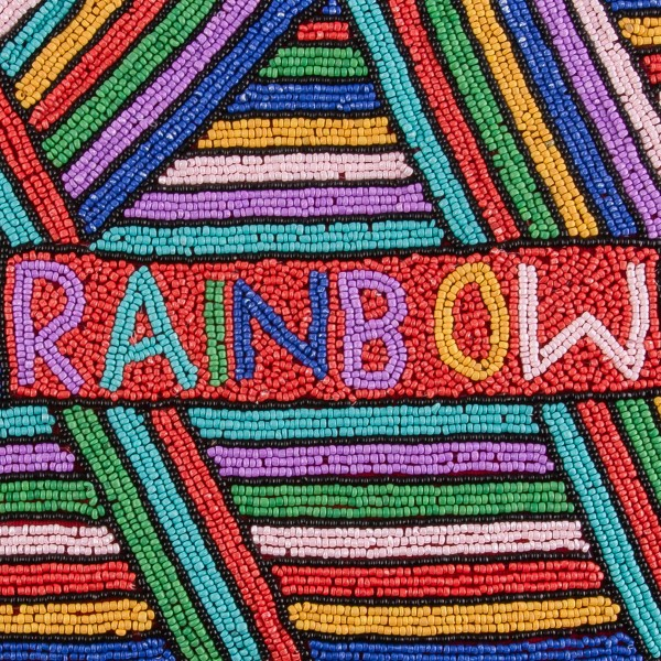 """High quality Rainbow seed beaded crossbody clutch.  - Open (100% Cotton) lined inside - 1 inside open pocket - Zipper closure - Approximately 10"""" x 7""""  - Strap hangs approximately 26"""" L - 40% Seed Beads, 40% Cotton Canvas, 20% Metal"""