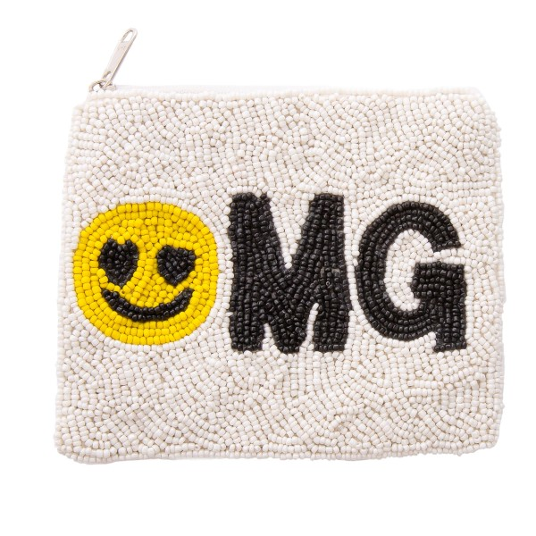 "Smiley Face OMG Seed Beaded Pouch.  - Zipper Closure - No Pockets  - Open Lined Inside  - Approximately 5"" W x 4.5"" T - 100% Cotton"