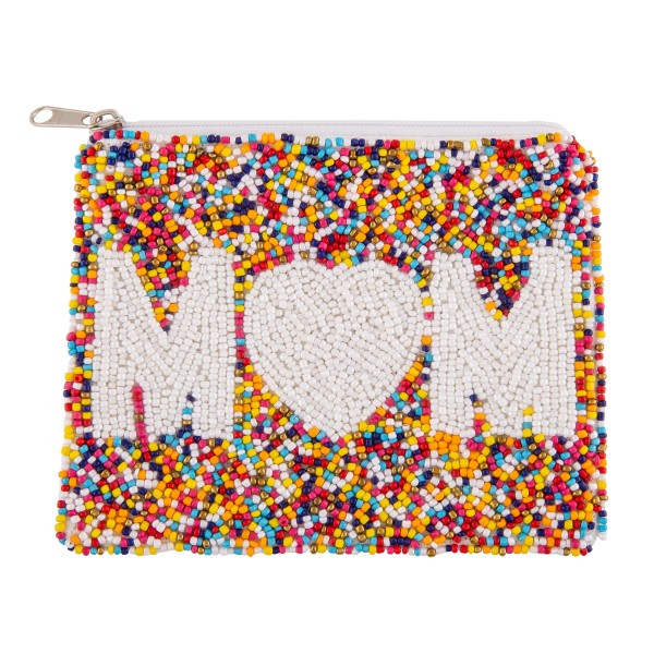 """High Quality Multicolored Seed Beaded Wallet with the word """"Mom"""" Embroidered in Ivory.  - Lined inside - Zipper closure - Approximately 6"""" W x 5"""" T - 100% Cotton"""