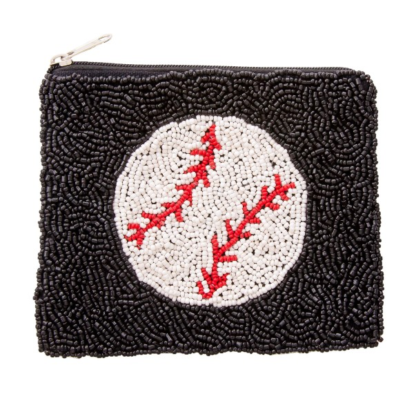 "Baseball Seed Beaded Pouch.  - Zipper Closure - No Pockets - Open Lined Inside  - Approximately 5"" W x 4.5"" T - 100% Cotton"