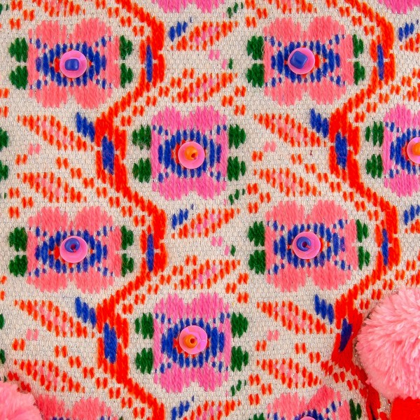 """Hot Pink floral embroidered sequin pom pom pouch.  - Open lined inside - Zipper closure - Approximately 6.5"""" W x 5.5"""" T - 60% Acrylic, 40% Cotton"""