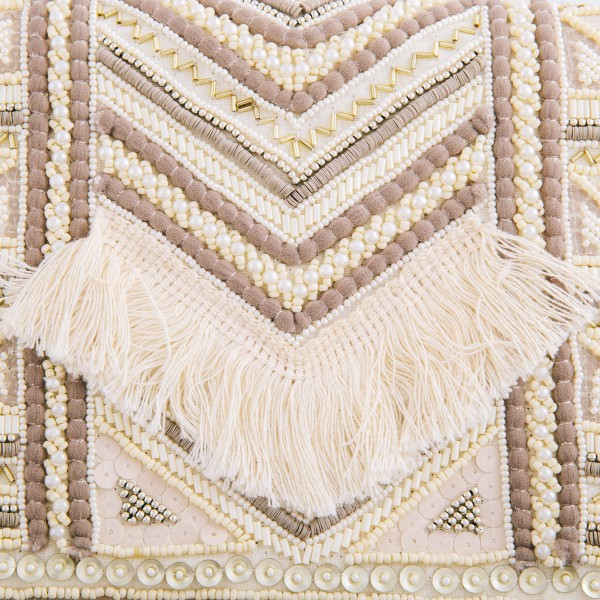 """High Quality Ivory Multi Seed Beaded Fringe Crossbody Clutch.  - Open lined inside - 1 open functional pocket - Fold over flap button closure - Approximately 10"""" W x 6"""" T - Strap hangs 21"""" L - 100% Polyester"""