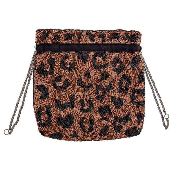 "High Quality Leopard Print Seed Beaded Drawstring Handbag   - Lined inside - Drawstring closure - Approximately 10"" W x 10"" T - Strap are approximately 12"" L - 100% Cotton"