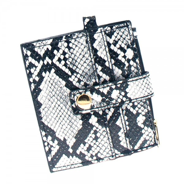 "Faux Leather Snakeskin ID/CC Wallet Key Ring.  Features:  - Clear ID Pocket - 2 Card Slots with Snap Closure - Zipper Coin Pouch - Key Ring Bangle - Removable Clasp Ring - Key Ring 3""  - Wallet approximately 4"" L x 3"" W"