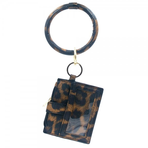 "Faux Leather Leopard Print ID/CC Key Ring Wallet.  Features:  - Clear ID Pocket - 2 Card Slots with Snap Closure - Zipper Coin Pouch - Key Ring Bangle - Removable Clasp Ring - Key Ring 3""  - Wallet approximately 4"" L x 3"" W"