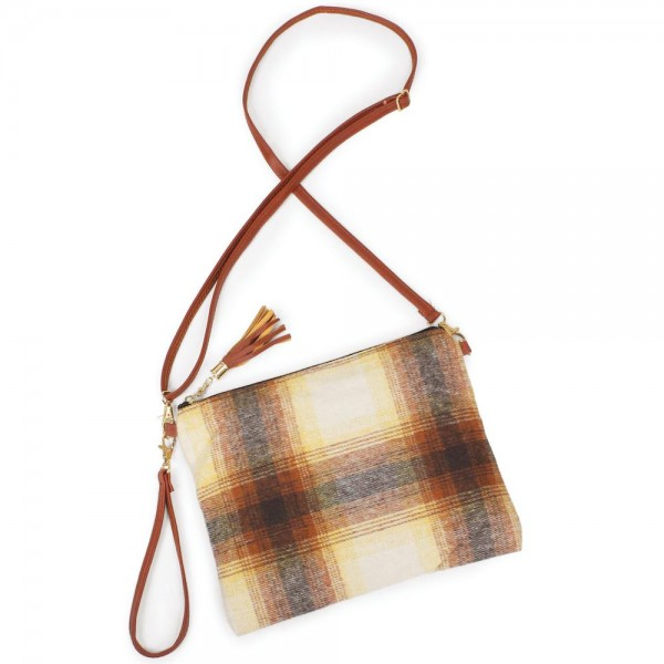 "Fleece Plaid Print Tassel Handbag.  - Zipper Closure - Open Lined Inside - 2 Functional Pockets - Detachable Faux Leather Strap - Approximately 10"" L x 8"" W"