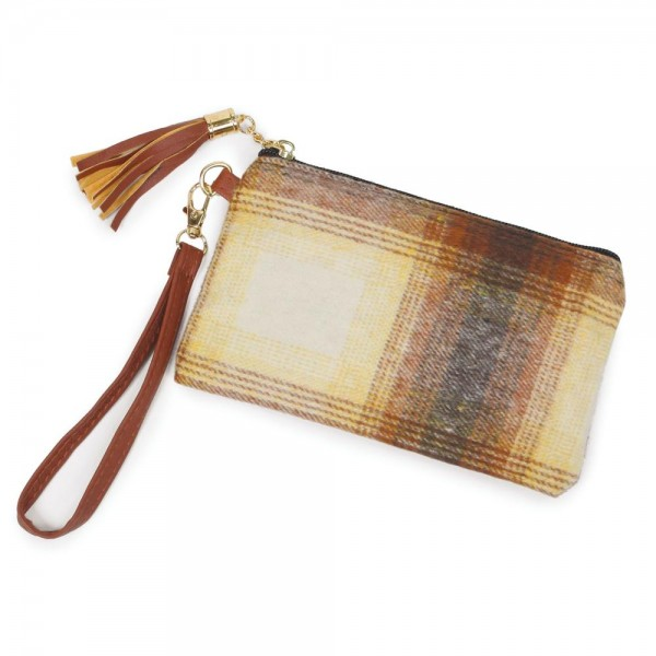 "Fleece Plaid Print Tassel Wristlet.  - Zipper Closure - Open Lined Inside - No Pockets - Detachable Wristlet - Approximately 7"" x 5"" - 100% Polyester"