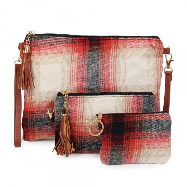 "Flannel Plaid Print Zipper Coin Pouch.  - Zipper Closure - Open Lined Inside  - Fits Card & Coins - Approximately 5"" x  4"""