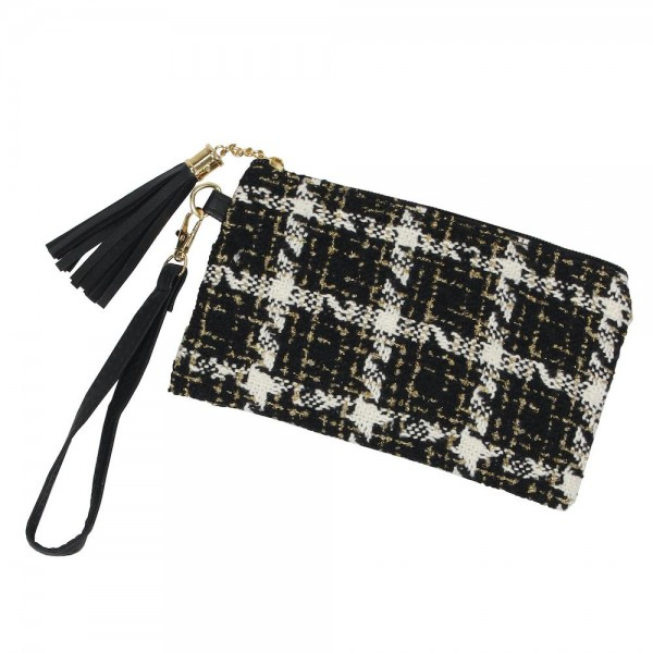 "Tweed Plaid Tassel Wristlet.  - Zipper Closure - Open Lined Inside - No Pockets - Detachable Wristlet - Approximately 7"" x 5"" - 100% Polyester"