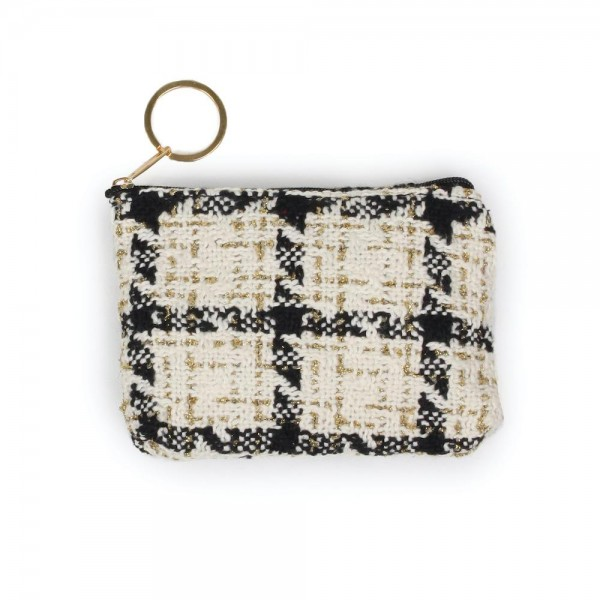 "Tweed Zipper Coin Pouch.  - Zipper Closure - Open Lined Inside  - Fits Card & Coins - Approximately 5"" x  4"""