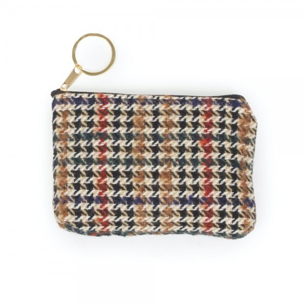 "Brown Houndstooth Zipper Coin Pouch.  - Zipper Closure - Open Lined Inside  - Fits Card & Coins - Approximately 5"" x  4"""