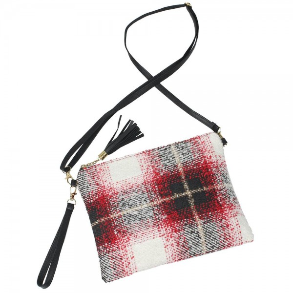 "Enlarged Plaid Print Tassel Handbag.  - Zipper Closure - Open Lined Inside - 2 Functional Pockets - Detachable Faux Leather Strap - Approximately 10"" L x 8"" W"