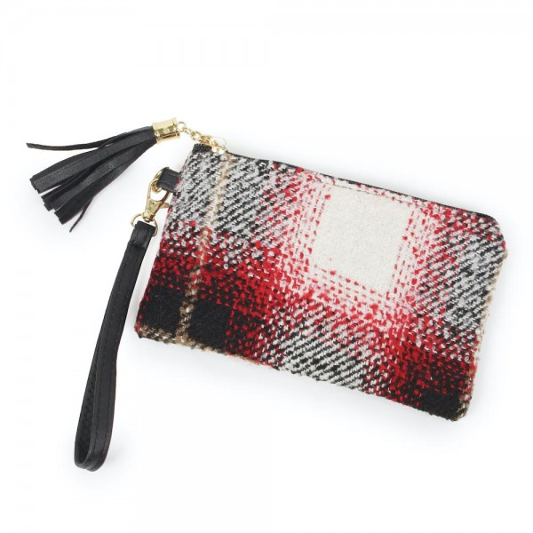 "Plaid Print Tassel Wristlet.  - Zipper Closure - Open Lined Inside - No Pockets - Detachable Wristlet - Approximately 7"" x 5"" - 100% Polyester"