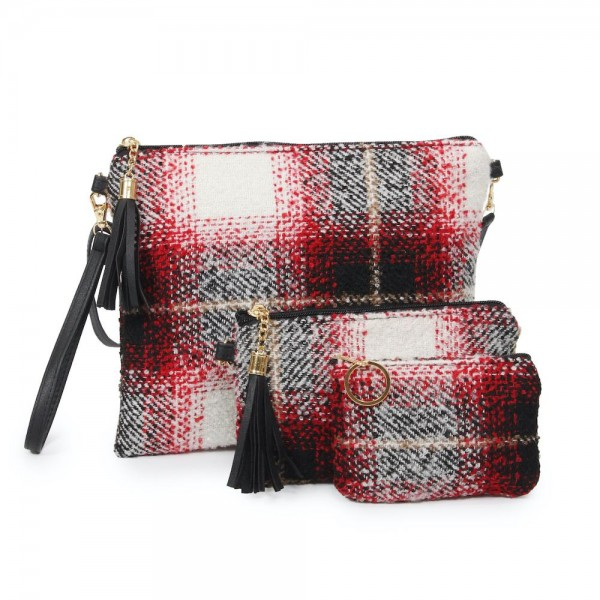 "Plaid Print Zipper Coin Pouch.  - Zipper Closure - Open Lined Inside  - Fits Card & Coins - Approximately 5"" x  4"""