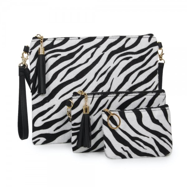 "Zebra Print Tassel Handbag.  - Zipper Closure - Open Lined Inside - 2 Functional Pockets - Detachable Faux Leather Strap - Approximately 10"" L x 8"" W"