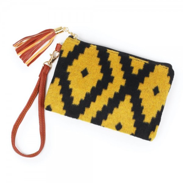 Wholesale aztec Print Tassel Wristlet Zipper Closure Open Lined Inside No Pocket