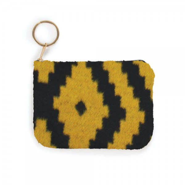 "Aztec Print Zipper Coin Pouch.  - Zipper Closure - Open Lined Inside  - Fits Card & Coins - Approximately 5"" x  4"""