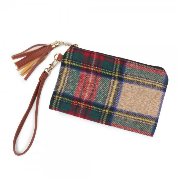 "Tartan Plaid Tassel Wristlet.  - Zipper Closure - Open Lined Inside  - No Pockets - Detachable Wristlet - Approximately 7"" x  5""  - 100% Polyester"