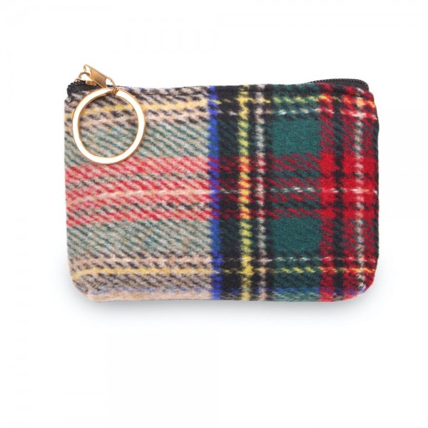 "Tartan Plaid Zipper Coin Pouch.  - Zipper Closure - Open Lined Inside  - Fits Card & Coins - Approximately 5"" x  4"""