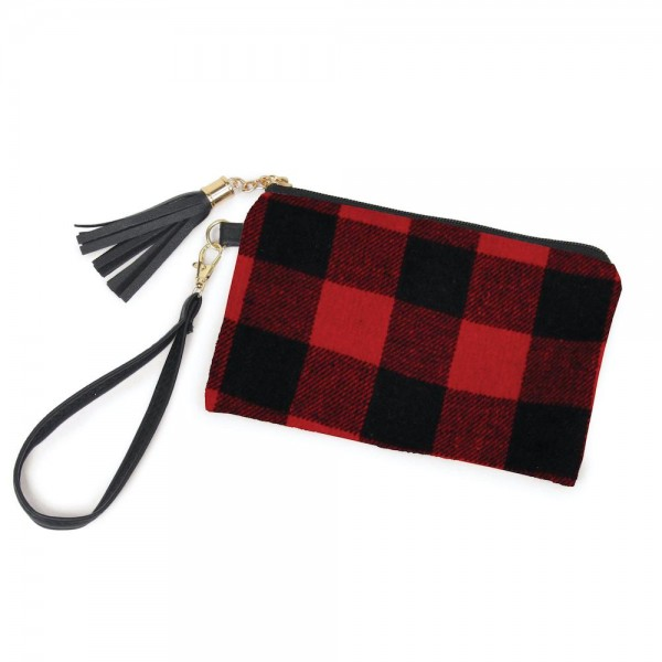 "Buffalo Check Tassel Wristlet.  - Zipper Closure - Open Lined Inside  - No Pockets - Detachable Wristlet - Approximately 7"" x  5""  - 100% Polyester"