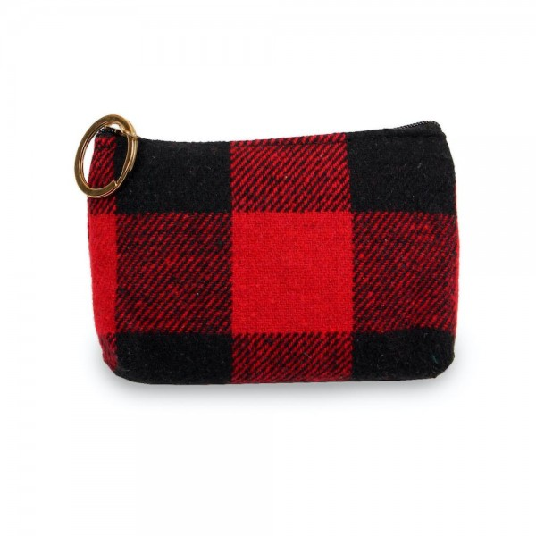 "Buffalo Check Zipper Coin Pouch.  - Zipper Closure - Open Lined Inside - Fits Cards & Coins - Approximately 5"" x 3"""