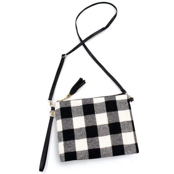"Buffalo Check Tassel Handbag.  - Zipper Closure - Open Lined Inside - 2 Functional Pockets - Detachable Faux Leather Strap - Approximately 10"" L x 8"" W"