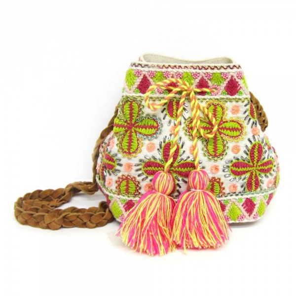 """Floral Yarn Embroidered Tassel Crossbody Canvas Handbag Featuring Faux Leather Braided Strap.  - Open - No Closure - Open Lined Inside - No Pockets - Faux Leather Braided Strap - Strap Hangs 25"""" L  - Approximately 10"""" W x 6"""" T"""