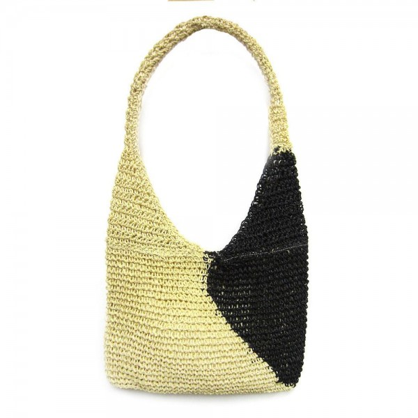 "Two Tone Paper Raffia Crochet Handbag.  - Magnetic Button Closure - Open Lined Inside  - One Functional Pocket - One Handle  - Handle Hangs 13"" L  - Approximately 14"" W x 9"" T"