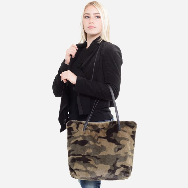"Faux Fur Camouflage Tote Bag.  - Faux Leather Handles - Zipper Closure - Open Lined Inside - One Functional Inside Pocket - Approximately 14"" W x 12"" T - 100% Polyester"