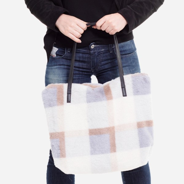 "Faux Fur Plaid Print Tote Bag.  - Faux Leather Handles - Zipper Closure - Open Lined Inside - One Functional Inside Pocket - Approximately 16"" W x 12"" T - 100% Polyester"