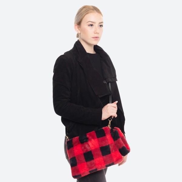 "Faux Fur Buffalo Check Handbag Featuring Detachable Wristlet.  - Zipper Closure - Open Lined Inside - No Pockets - Detachable Faux Fur Wristlet; 9"" - Adjustable Detachable PU Strap - Approximately 11"" W x 8"" T - 100% Polyester"