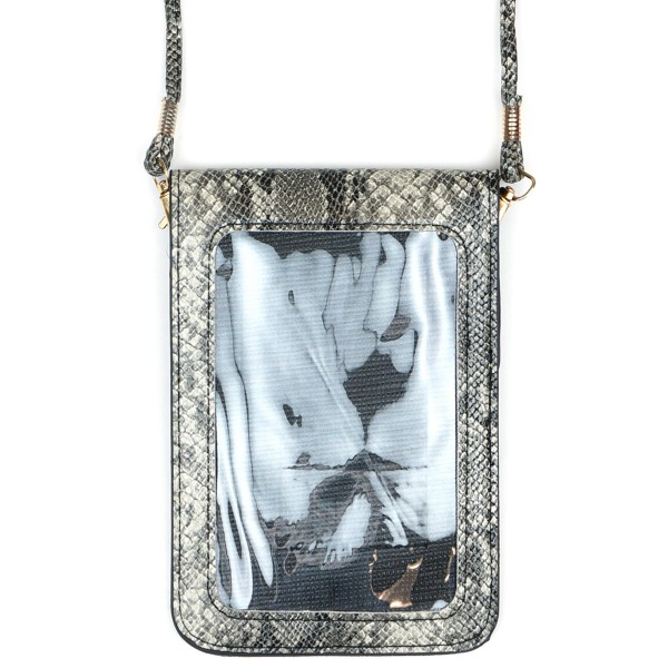 "Faux Leather Snakeskin Cell Phone Crossbody.  - One Inside Pocket - Clear Back Pocket - Flap Button Closure - Strap 24"" L - Approximately 4""T x 3"" W - 100% PU"