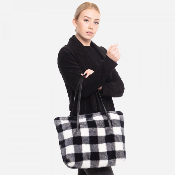 "Faux Fur Buffalo Check Tote  Bag.  - Zipper Closure - Open Lined Inside - One Functional Inside Pocket - PU Handles - Approximately 17"" W x 14"" T - 100% Polyester"
