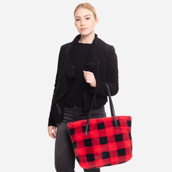 """Faux Fur Buffalo Check Tote  Bag.  - Zipper Closure - Open Lined Inside - One Functional Inside Pocket - PU Handles - Approximately 17"""" W x 14"""" T - 100% Polyester"""