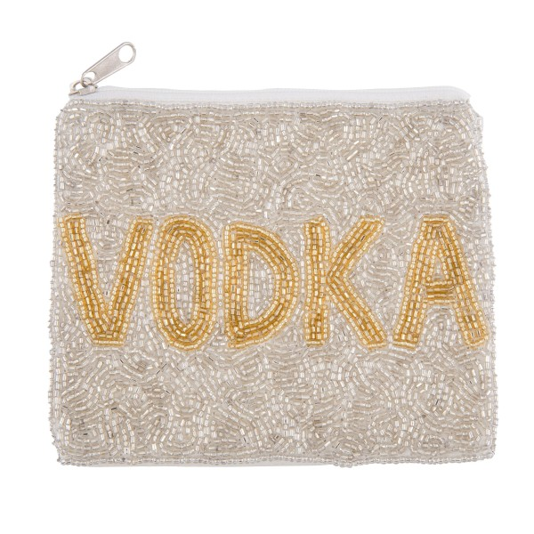 """Silver """"VODKA"""" Seed Beaded Canvas Pouch.  - Zipper Closure - Lined Inside - No Pockets - Spot Clean Only - Approximately 5"""" W x 4.5"""" T - 100% Cotton"""
