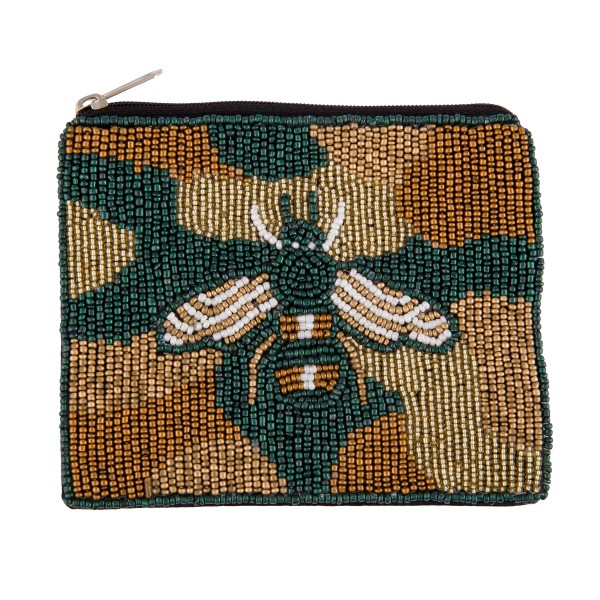 "Designer Inspired Camouflage BEE Seed Beaded Canvas Pouch.  - Zipper Closure - Lined Inside - No Pockets - Spot Clean Only - Approximately 5"" W x 4.5"" T - 100% Cotton"