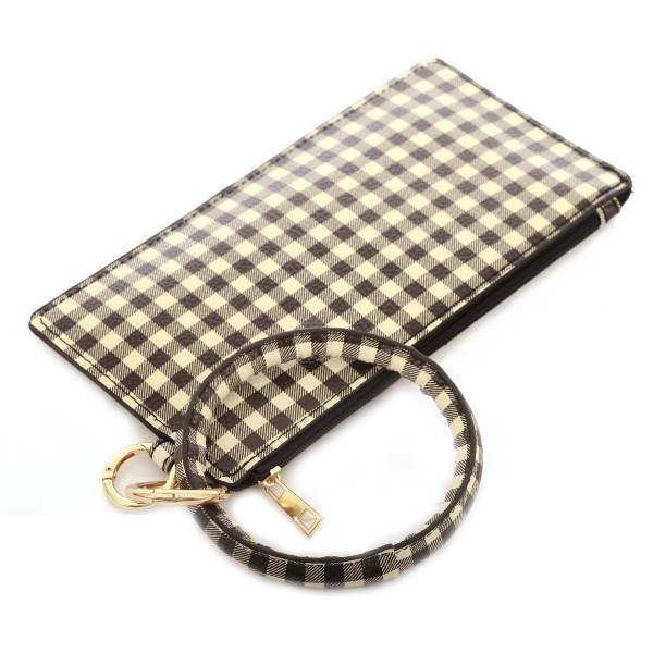 "Faux Leather Buffalo Check Key Ring Wallet Wristlet.  - Zipper Closure - Detachable 3"" Key Ring - Holds: Bills / Coins / Cards / ID - Approximately 8"" x 4"""