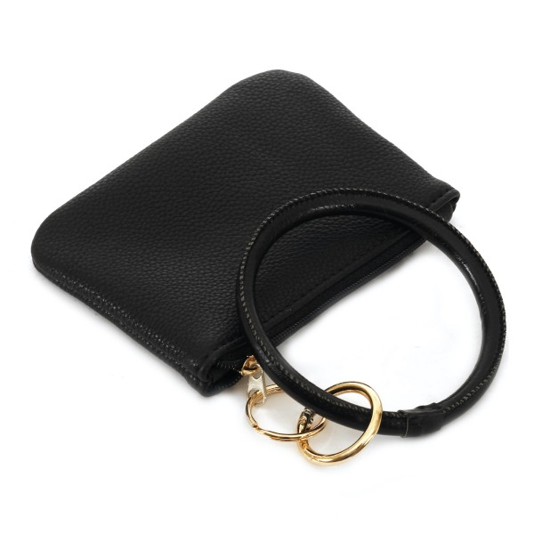 "Faux Leather Key Ring Coin Pouch Bangle Wristlet.  - Zipper Closure - Detachable 3"" Key Ring - Holds: Coins / Cash / Cards / ID - Approximately 5"" x 3"""