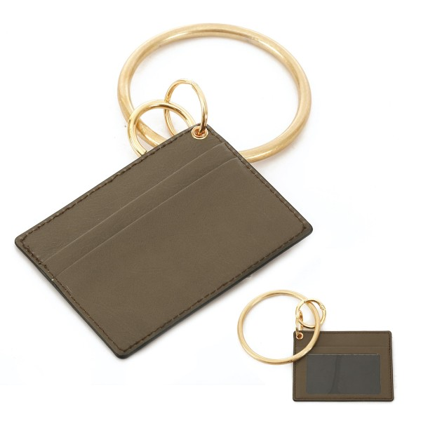 """Faux Leather ID/Card Holder Metal Key Ring Bangle Wristlet.  - Clear Pocket - 2 Card Pocket Holder - Detachable Metal Key Ring  - Ring 3"""" in Diameter - Approximately 4"""" x 3"""""""