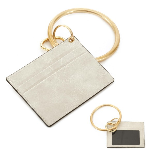 "Faux Leather ID/Card Holder Metal Key Ring Bangle Wristlet.  - Clear Pocket - 2 Card Pocket Holder - Detachable Metal Key Ring  - Ring 3"" in Diameter - Approximately 4"" x 3"""