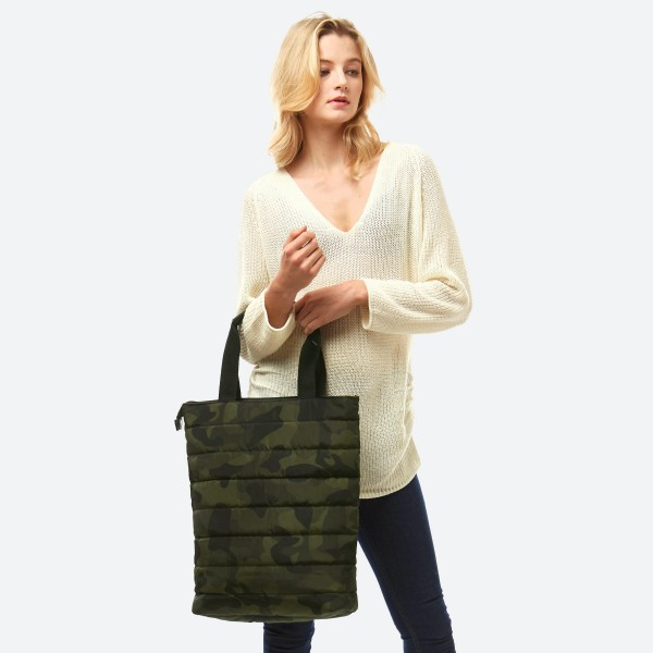 """Puffy Quilted Camouflage Tote Bag.  - Zipper Closure - Open Lined Inside - 1 Inside Zipper Pocket - 2 Inside Open Pockets - 90% Polyester / 10% PU - Approximately 18"""" T x 15"""" W"""