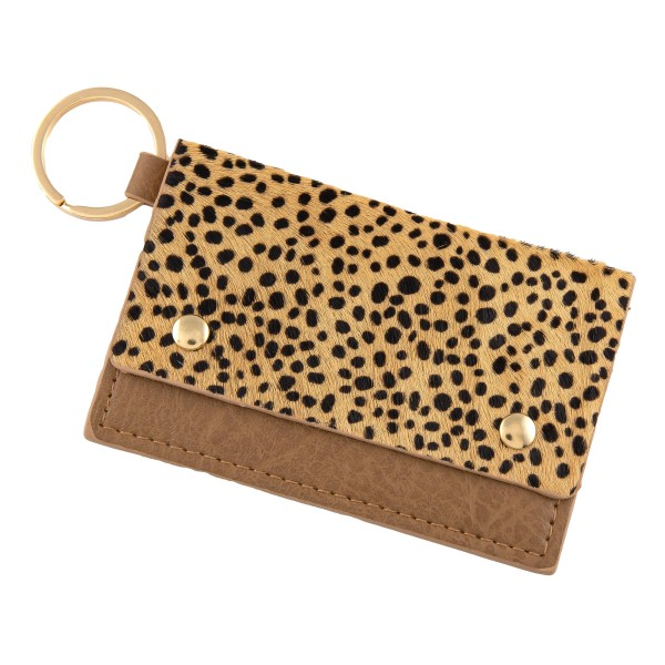 """Genuine Leather Cheetah Print CC/ID Keychain Holder.  - Faux Leather  - Button Closure - 2 CC/ID Pockets - Keyring to attach Keys - Approximately 4"""" x 2.75"""""""