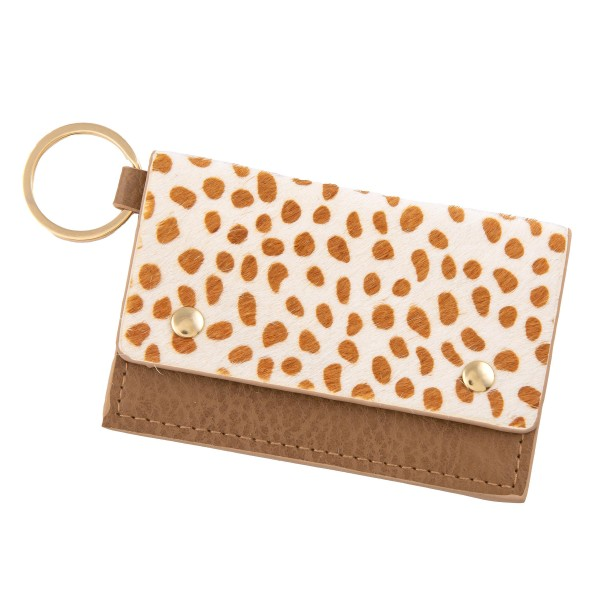 Wholesale genuine Leather Cheetah Print CC ID Keychain Holder Faux Leather Butto